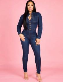 Macacão jeans de manga comprida com botão azul e ajuste