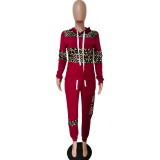 Sudadera con capucha de leopardo de rayas anchas de manga larga