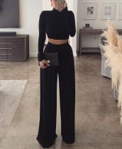 Formal Solid Plain Langarm Crop Top und High Waist Wide Pants Set