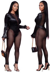Black Sexy Mesh Patch Long Sleeve See Through Jumpsuit