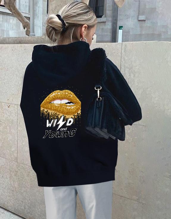 Sudadera con capucha y espalda estampada negra estilo callejero