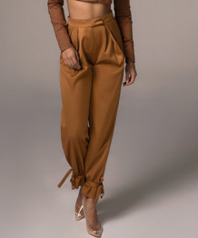 Formal Solid Plain High Waist Dragon Trousers