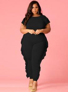 Plus Size Black Short Sleeve Ruffles Bodycon Jumpsuit