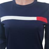 Conjunto casual de dos piezas de manga larga con cuello en O y camisa a rayas