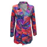 Vestido blazer elegante de manga larga con estampado de colores
