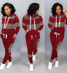 Long Sleeves Wide Stripes Leopard Hoody Sweat Suit