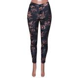 Pantalones formales de corte de piel de serpiente de cintura alta