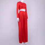 Conjunto formal liso liso de manga larga y pantalón ancho de cintura alta