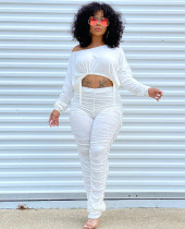 Sexy Long Sleeve Strings Crop Top and Ruched Pants Set