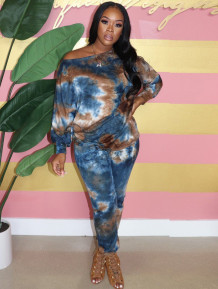 Casual Two Piece Tie Dye Shirt and Pants Matching Set