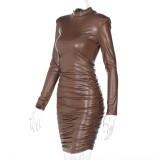 Vestido mini club fruncido de cuero marrón sexy de invierno