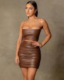 Party Sexy Leather Strap Crop Top and Mini Skirt Set