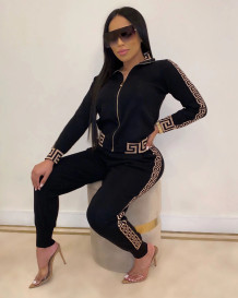Long Sleeve Print Two Piece Zipped Tracksuit