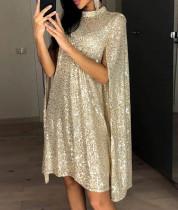 Mini vestido de fiesta de manga larga dorado con lentejuelas formales