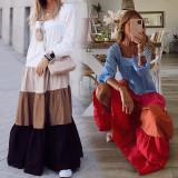 Vestido largo casual de manga larga en contraste