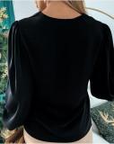 Blusa Cadenas elegantes Manga larga Liso Liso