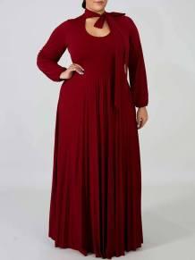 Plus Size Solid Plain Long Sleeve Long Maxi Dress