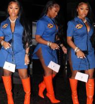 Party Print Blue Side Slit Sexy Minikleid mit Reißverschluss