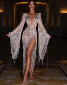 Formal Sequins Deep-V Long Sleeve Slit Evening Dress