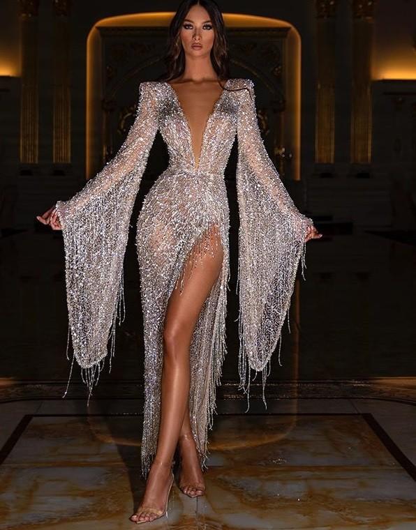 Vestido de noche con abertura de manga larga y lentejuelas formales con escote en V profundo