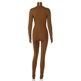 Sexy Solid Plain Long Sleeve Turtleneck Bodycon Jumpsuit