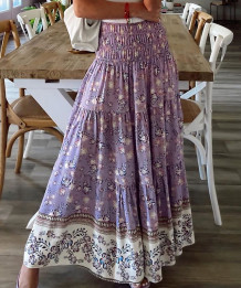 Summer Bohemian Print High Waist Maxi Skirt
