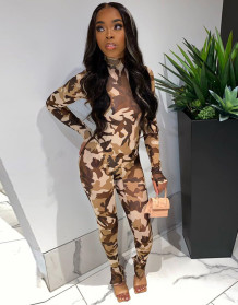 Sexy Camou Print Long Sleeve Bodycon Jumpsuit