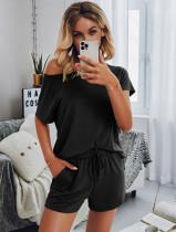 Summer Solid Plain Kurzarmhemd und Shorts Lounge Set