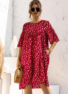 Sommer Kurzarm Polka Casual Kurzes Kleid