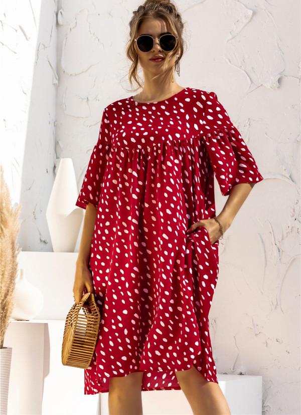 Vestido corto casual de lunares de manga corta de verano