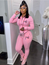 Sports Letter Print Long Sleeve Hooded Tracksuit