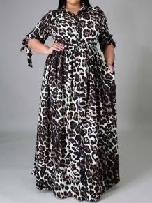 Plus Size Leopard Print Long Maxi Dress