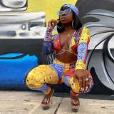 Mono bodycon recortado con estampado colorido sexy de fiesta