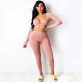 Conjunto sexy de pantalón y top corto de manga larga bodycon de dos piezas