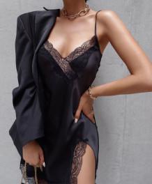Seksi Dantel Yama Saten Askılı Pijama Elbise