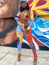 Party Sexy bunte Print ausgeschnitten Bodycon Jumpsuit
