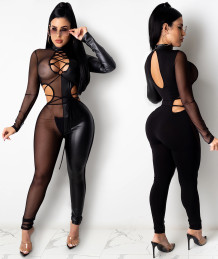 Party Sexy Schnür Mesh Patch Bodycon Jumpsuit