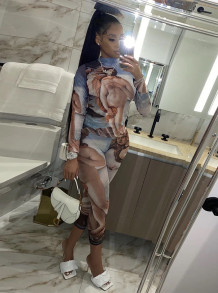 Two Piece Print Bodycon Long Sleeve Shirt and Pants Set
