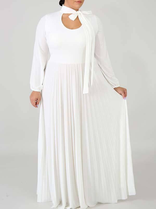Vestido largo largo liso liso de talla grande
