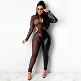 Party Sexy Lace Up Mesh Patch Bodycon Mono