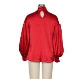 Blusa elegante atada con mangas abullonadas estilo vintage