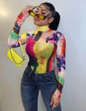 Party Sexy colorida camisa ajustada de manga larga
