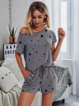 Summer Solid Plain Short Sleeve Shirt and Shorts Lounge Set