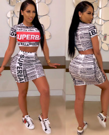 Party Newsletter Print Crop Top and Mini Skirt Set