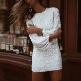 Mini vestido de fiesta de manga larga con lentejuelas formales