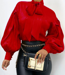 Vintage Style Puffärmel gebundene elegante Bluse