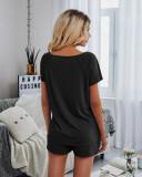 Conjunto de salón de camisa de manga corta y pantalones cortos lisos de verano