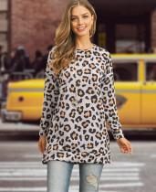 Chemise longue léopard décontractée à manches longues pour printemps
