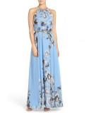 Vestido largo con cuello halter floral elegante de verano con cinturón