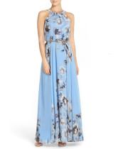 Kemer ile Yaz Zarif Çiçek Halter Uzun Elbise